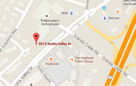 Map of Santa Cruz Scotts Valley Medical Offices